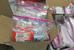 Photo courtesy of PATH | Advertise.com staff made hygiene kits comprised of deodorant, toothbrush and toothpaste, socks, shaving kits and other essential items. PATH outreach teams will use these kits, and the blankets also donated, to engage people livin
