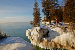Lake Michigan ice formations at Cave Point County Park in Door County, Wisconsin