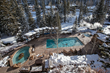An outdoor pool and two hot tubs offers another favorite amenity for family ski vacations at the Antlers at Vail hotel in Vail, Colorado.