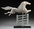 UNTOUCHED STEEPLE-CHASE HORSE JUMPING OVER THE GATE WEATHERVANE realized $112,575