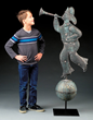 MONUMENTAL FULL BODIED FIREMAN WEATHERVANE realized $94,800