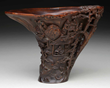 "LARGE RHINOCEROS HORN ""SCHOLAR LANDSCAPE"" CUP realized $56,288"
