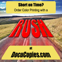 DocuCopies now offers next-day delivery and simplified their rush-ordering process at checkout.