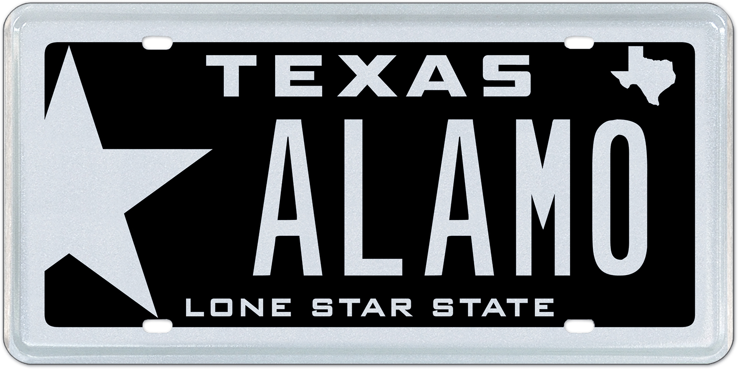 texas license plate message alamo to be sold at auction by. Black Bedroom Furniture Sets. Home Design Ideas