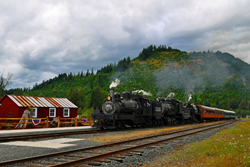Steam engines at Mt. Rainier Railroad and Logging Museum in Elbe, WA