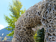Jackson Town Square, the center of many popular Jackson Hole Fall Arts Festival events, is framed by elk antler arches on its four corners.