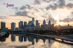 Philadelphia skyline with Jane, your hiring assistant logo