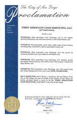 Proclamation of First Associates Loan Servicing Day