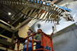Members of the University of South Florida's Center for Virtualization and Applied Spatial Technologies scan a Florida manatee skeleton hanging in MOSI's lobby. (MOSI photo)