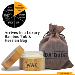 Da'Dude Da'Wax Ultra Strong Hold Hair Styling Wax - Long Lasting Matte Look in a Wooden Tub & Gift Bag