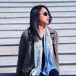 Shalom Peace blue tan cashmere luxury scarf mary DeArment