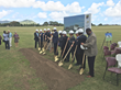 UVI and VI government officials hammer in the first nail during the groundbreaking ceremony for the university's planned Medical School Simulation Center on St. Croix.