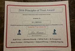 2016 BBB Principles of Trust Award Certificate