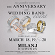 Milanj Diamonds Announces Its Grand Wedding and Anniversary Band Event March 18-20, 2016