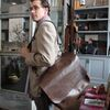 Scott carries the supple leather Jonathan messenger bag.