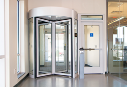 revolving door, turnstile, optical turnstile, perimeter protection, access control, building security, food safety regulations, pastries