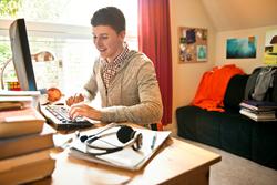 teen boy at computer