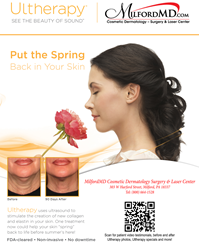 FDA-cleared, non-invasive Ultherapy treatments are now offered at MilfordMD Cosmetic Dermatology Surgery & Laser Center.  Take advantage of our Spring Ultherapy specials!