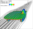 Streamlines created with Tecplot 360 EX illustrate the flow around the Stanford Solar Car.