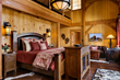 Ski house master bedroom, new hampshire, loon mountain, interior designer