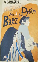 Original 1965 Eric Von Schmidt Bob Dylan and Joan Baez Concert Poster