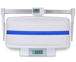 Detecto's MB130 Digital Pediatric Scale Shown with Optional Digital Length Measuring Rod