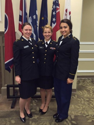 Cadet Brandy Fowler (left) at the conference with cadets from Emmanuel College in Boston (center) and Louisiana State University at Shreveport (right).
