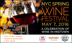 New York Wine Events hosts New York City, New Jersey and Brooklyn spring wine tasting events in May 2016.