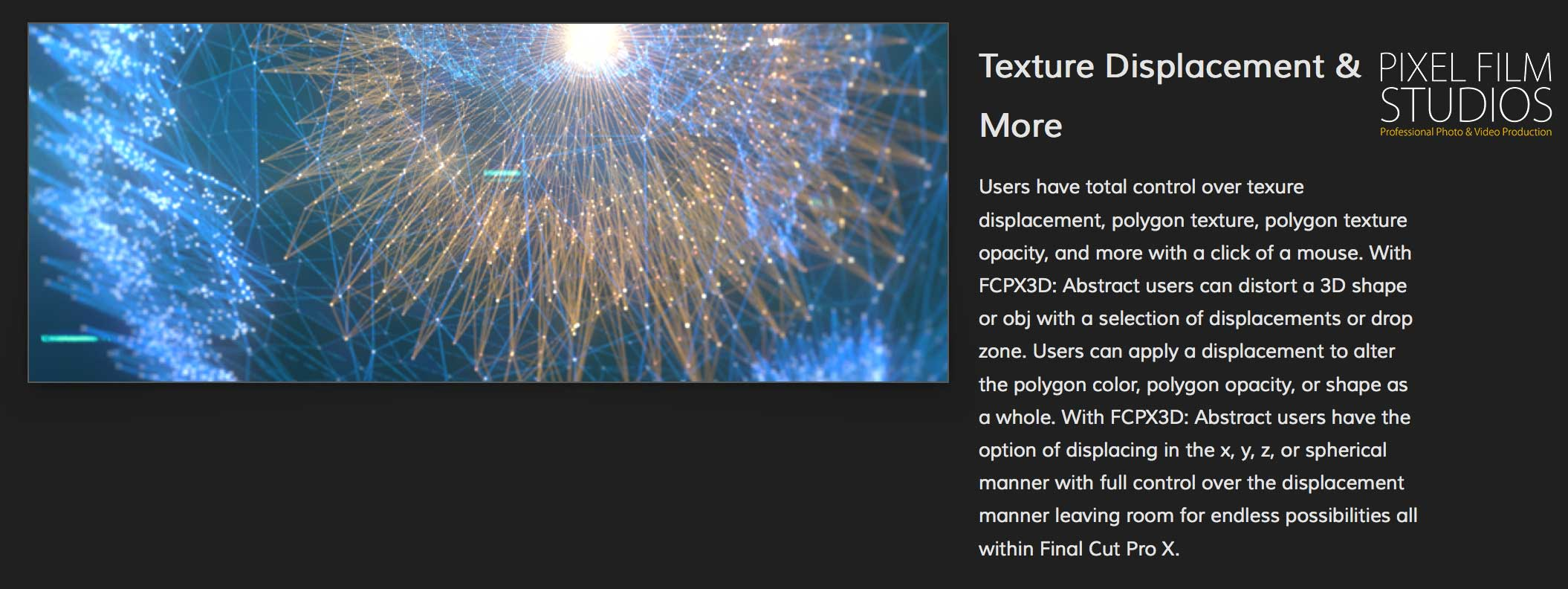 fcpx3d abstract was released by pixel film studios