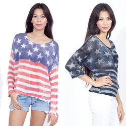 Made in the USA, this fashionable True Hitt sweater is available in soft red, white and blue or trendy black and white.