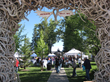Many events of the Jackson Hole Fall Arts Festival such as the QuickDraw competition and the Art Auction occur on Jackson Town Square framed by naturally shed elk antler arches.