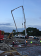 Pouring it on: An evening pour at the Miami Bay Club job site directly on Biscayne Bay; about 3,000 cubic yards (2,295 m2) of concrete were treated with PENETRON ADMIX.