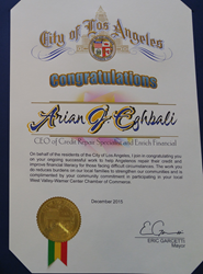 Arian Eghbali, Enrich Financial office of Credit Repair Specialist gets a Certificate of Recognition by Eric Garcetti, Mayor of Los Angeles since 2013.