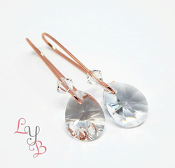 Rose Gold and Clear Crystal Petite Pear Earrings from Love Your Bling. As gifted at GBK's 2016 MTV Movie Awards Celebrity Gift Lounge.