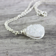 Sterling Silver and White Druzy Quartz Necklace from Starletta Designs.
