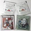 The TeaBook Collect Teables: Agatha ChrisTea and ShakeSpearmint and  reverse sides featuring fun plays on quotes by the authors.