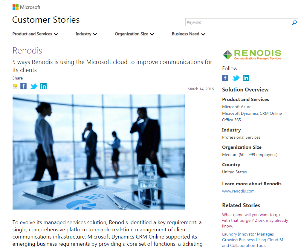Innovative Use Of Classroom : Microsoft features renodis innovative use of the cloud to