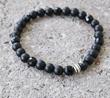 Nature's Splendour Unisex Black Onyx Stretch Bracelet.