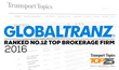 "GlobalTranz Moves Up Two Spots to #12 on Transport Topic Magazine's ""Top 50 Brokerage Firms"" List for 2016"