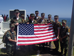 Youth members of the Young Marines atop Mt. Suribachi on Iwo Jima during the 2016 Reunion of Honor
