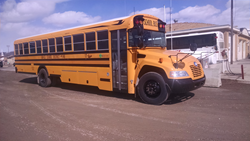 The new Blue Bird Vision Propane school bus is equipped with Ford Motor Company's 6.8L V10 engine powered by a ROUSH CleanTech propane autogas fuel system.