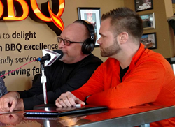 Minuteman Press franchise owner Dan Reeves (left) and his son Mike Reeves (right) at recent radio interview in Minnesota with Real Estate Chalk Talk Radio