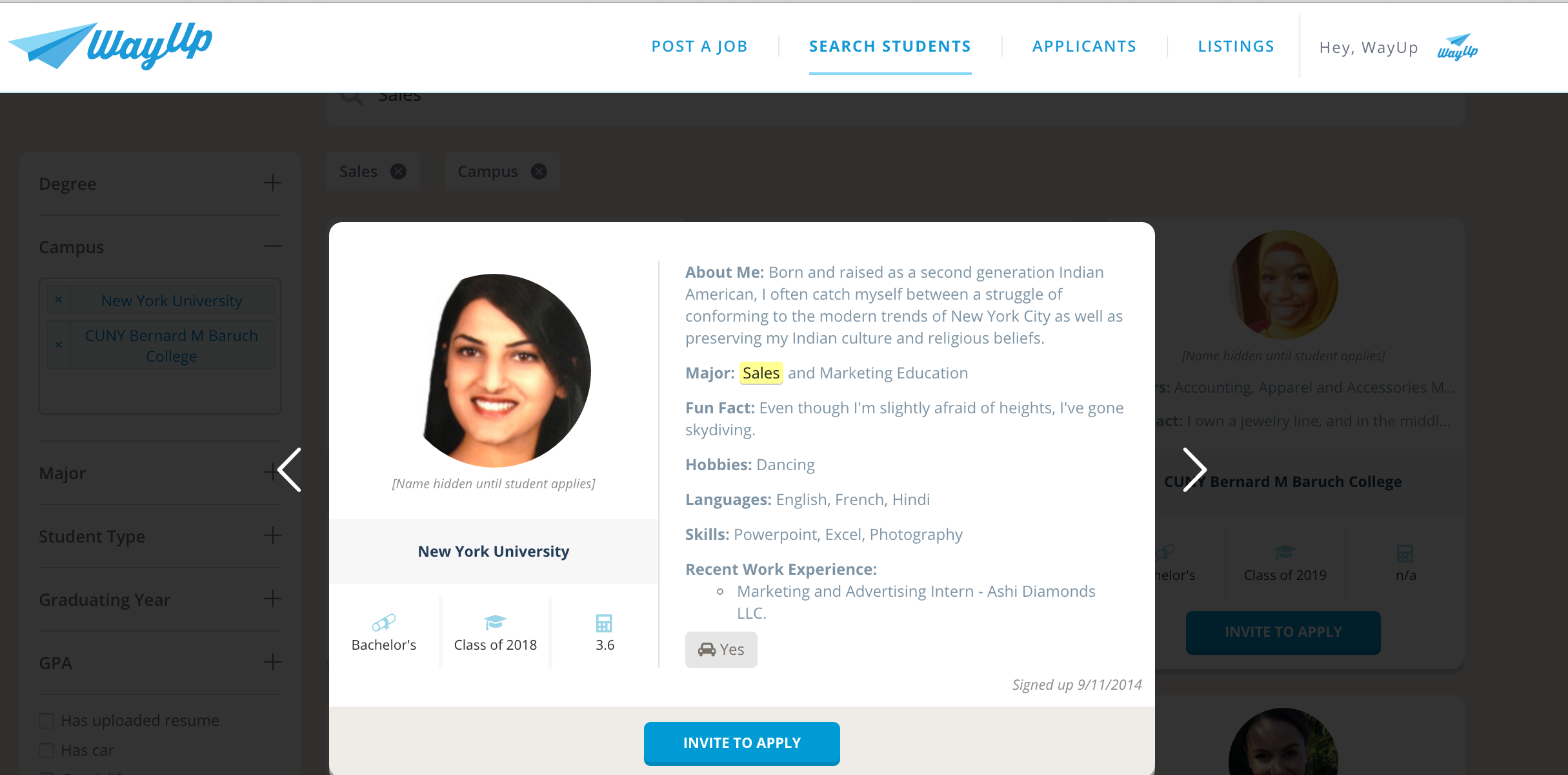 college job site wayup releases new recruiting tool advanced individual student profile assorted student profiles