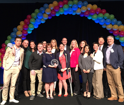 "Prometheans (employees) celebrate the company's recognition as one of the Bay Area ""Best Places to Work"" three years in a row."