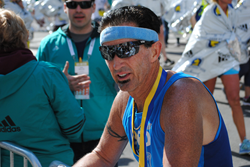 Robert Ramsey finishes the Boston Marathon