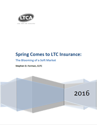 "Cover page of LTCA report, ""Spring Comes to LTC Insurance: The Blooming of a Soft Market"""