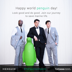 Menguin tuxes help groom look good and do good by saving marine wildlife.