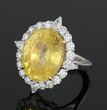 Sri Lankan Yellow Sapphire, Diamond and Platinum Ring
