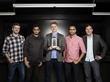 Here the entire SpaceVR team displays their satellite prototype. From the left, Brad Farquar (Head of Sales) , Varun Vruddhula (Head of Strategy), Ryan Holmes (Founder & CEO), Blaze Sanders (CTO), Tim