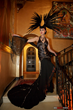 Sue Wong Model photographed in the entrance foyer of Sue Wong's historical Hollywood landmark palazzo, The Cedars - Photo courtesy of Greg Doherty
